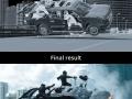 Opening highway chase scene of Deadpool