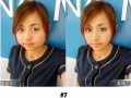 Before and after selfies retouched by beauty app