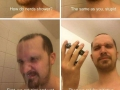 Stereotypical memes of how people shower