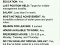 An actual job application submitted to Mcdonalds