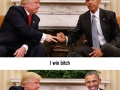 Trump and Obama�s first awkward meeting