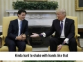 Photoshops of Justin Trudeau staring at Trump�s hand