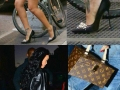 Rihanna walking over holes in pencil heels