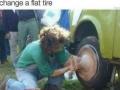 Vegan changing a flat tire